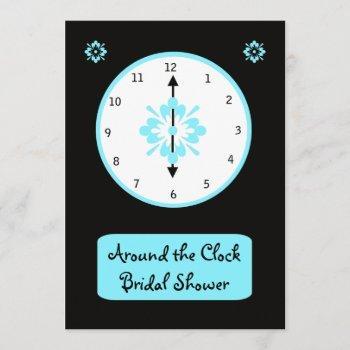 around the clock bridal shower invitation -- blue