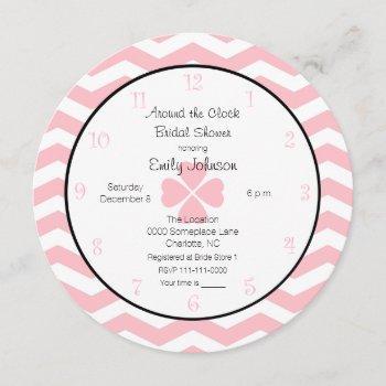 around the clock bridal shower invitation in pink