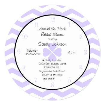 around the clock bridal shower invitation lavender