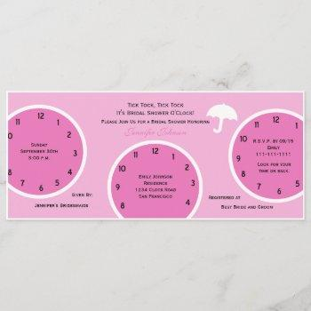 around the clock bridal shower invitation pink