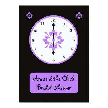 around the clock bridal shower invitation - violet