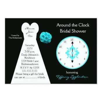 around the clock bridal shower invitations