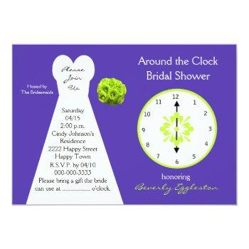 around the clock bridal shower invitations purple