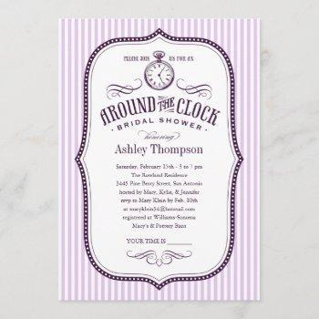 around the clock lilac purple bridal shower invite
