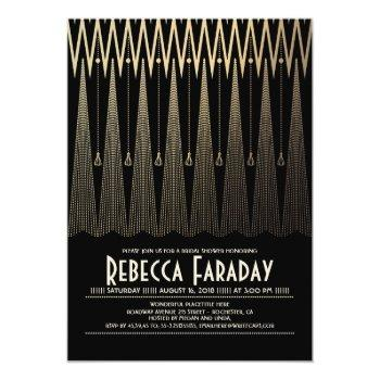 art deco black and gold gatsby bridal shower invitation