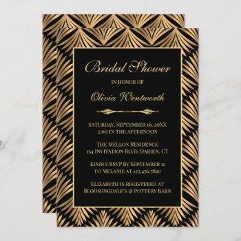 art deco black gold great gatsby bridal shower invitation