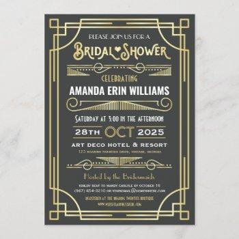 art deco bridal shower elegant gold gray retro invitation