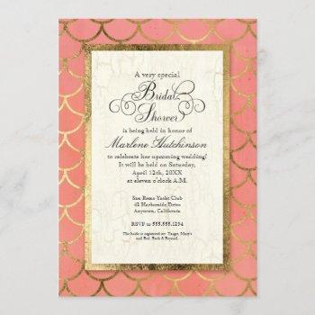 art deco gold scalloped shell bridal shower party invitation