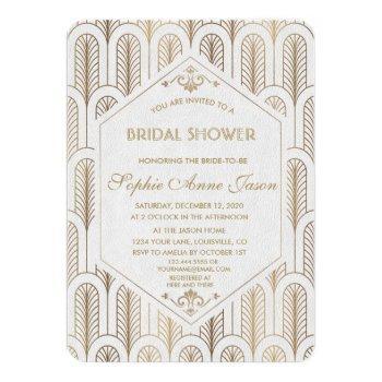 art deco great gatsby white gold bridal shower invitation