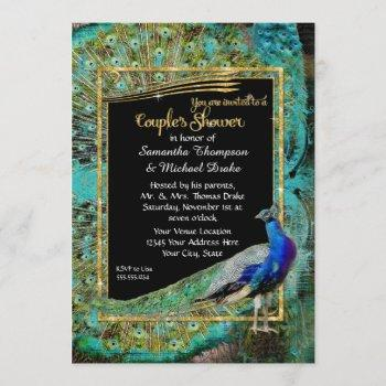 art deco peacock glam old hollywood couples shower invitation