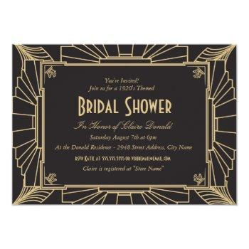 art deco style bridal shower invitation