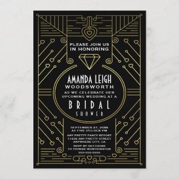 art deco vintage gold bridal shower invitations