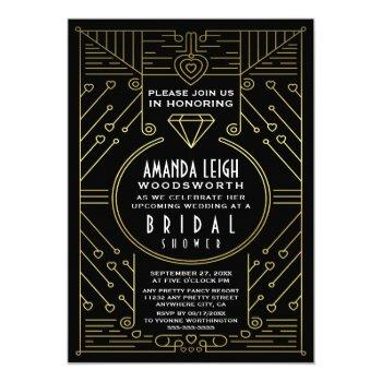 art deco vintage gold bridal shower invitations