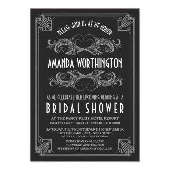 art deco vintage silver bridal shower invitations