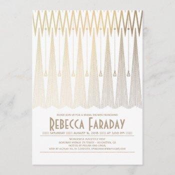 art deco white and gold gatsby bridal shower invitation