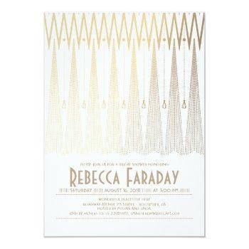 art deco white and gold gatsby bridal shower invitation