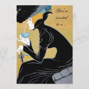 art nouveau afternoon tea bridal shower invitation