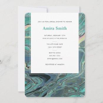 artistic boho aqua marble shower invitation