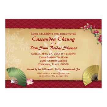 asian fans bridal shower invitation
