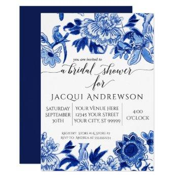asian influence blue white floral 2 bridal shower invitation