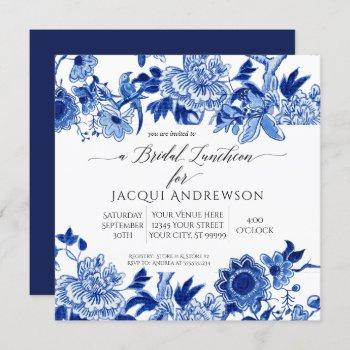asian influence blue white floral bridal luncheon invitation