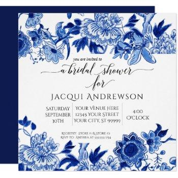 asian influence blue white floral |bridal shower invitation
