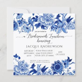 asian influence blue white floral bridesmaids invitation