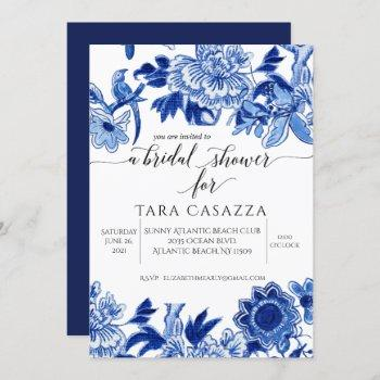 asian influence floral blue white bridal shower in invitation