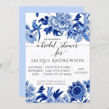 asian influence light blue floral 3 bridal shower invitation