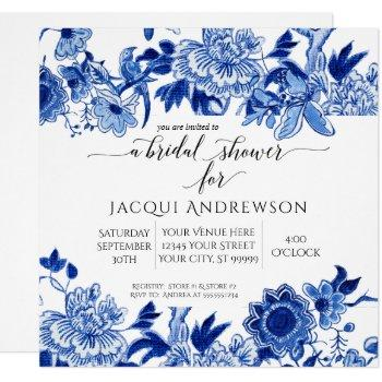 asian influence white blue floral |bridal shower invitation
