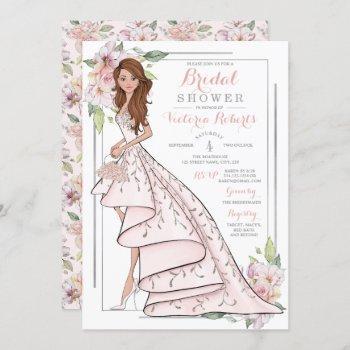 auburn hair bride floral bridal shower invitation