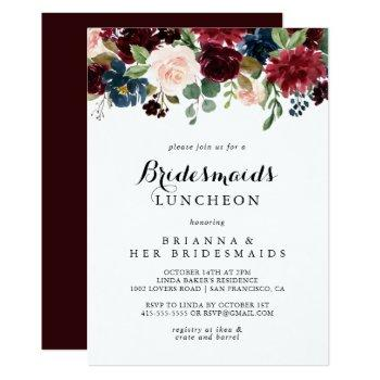 autumn calligraphy bridesmaids luncheon shower invitation