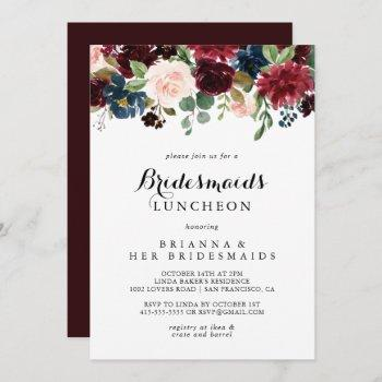 autumn calligraphy bridesmaids luncheon shower invitation