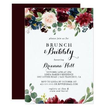 autumn calligraphy brunch and bubbly bridal shower invitation