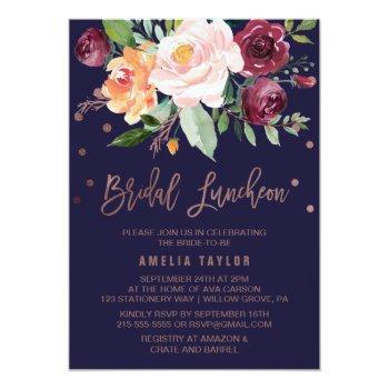 autumn floral rose gold bridal luncheon invitation