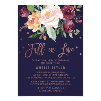 autumn floral rose gold fall in love bridal shower invitation