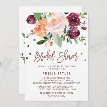 autumn floral rose gold light wreath bridal shower invitation