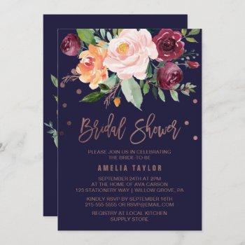 autumn floral rose gold wreath back bridal shower invitation