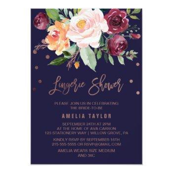 autumn floral rose gold wreath lingerie shower invitation