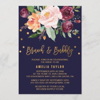 autumn floral with wreath backing brunch & bubbly invitation