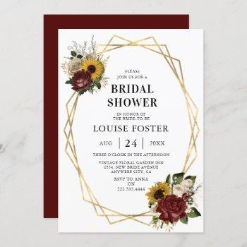 autumn florals & geometric frame bridal shower invitation