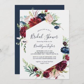 autumn garden | burgundy bridal shower invitation