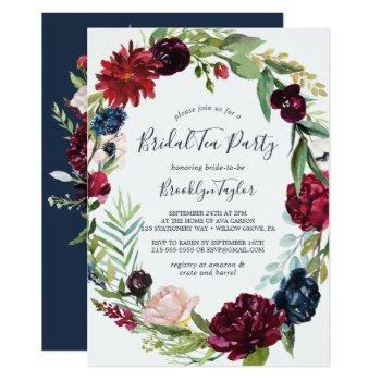 autumn garden | burgundy wreath bridal tea party invitation