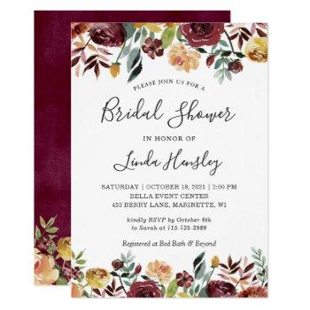 autumn garden red orange floral fall bridal shower invitation