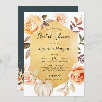 autumn luxury gold floral fall bridal shower invitation