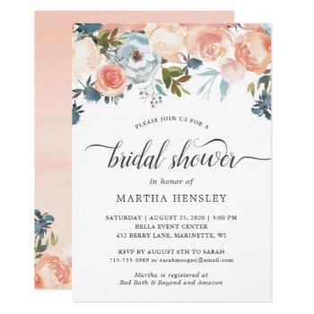 autumn peach floral curly script bridal shower invitation