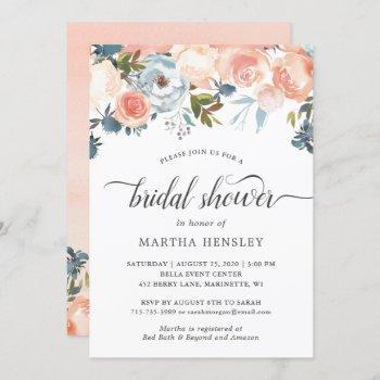 autumn peach floral curly script bridal shower invitation