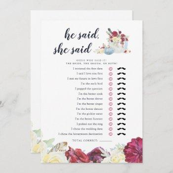 autumn pumpkin two-sided bridal shower game card