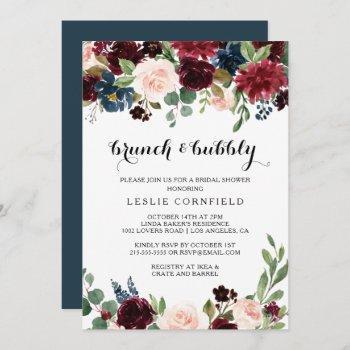 autumn rustic brunch & bubbly bridal shower invitation