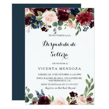 autumn rustic burgundy spanish bridal shower invitation